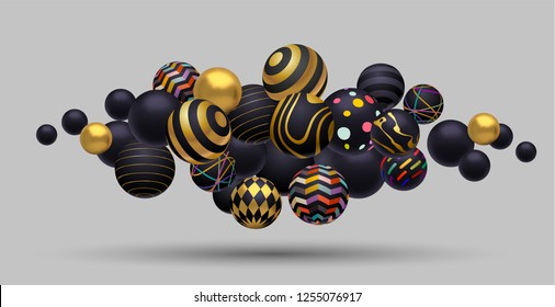 Abstract composition of floating spheres. Gold, black and colored. 3D eps10 vector