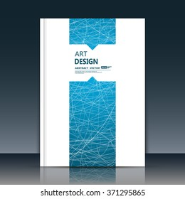 Abstract composition, font texture, blue stripe band construction, white a4 brochure title sheet, text frame, creative figure, web net icon, logo sign surface, firm banner form, flier fiber, EPS10