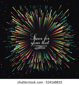 Abstract composition in the form of an explosion of fireworks against a dark background. Empty space for your text. Stripes and dots of varying thickness, arranged in a circle.