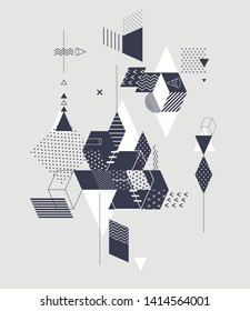 Abstract composition of geometric primitive  shapes