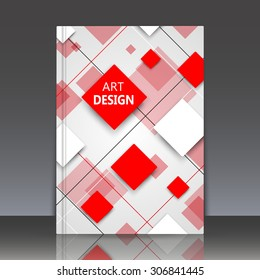 Abstract composition, geometric shapes, classic business brochure title sheet, background, red squares, EPS 10 vector illustration