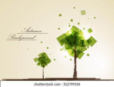 Abstract composition, geometric shapes, green leaves theme, autumn events advertisement, seasonal sale flyer, natural print, eco design, september tree branch icon, EPS 10 vector illustration