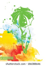 Abstract composition - girl with an umbrella on watercolor background. vector illustration.
