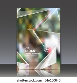 Abstract composition, green leaves theme, natural foliage surface, polygonal triangle construction, line connecting, firm sign backdrop, brochure title sheet, company business card, EPS10 illustration
