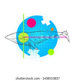 Abstract composition with hand drawn humpback whale in fashion pop art style. Zine culture vector illustration. Creative design concept.