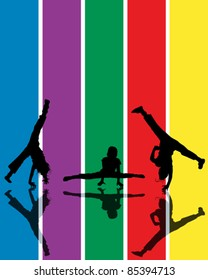 Abstract composition with jumping children silhouettes over a rainbow background