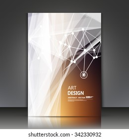 Abstract composition, line interlacement, filament intersection, yarn, white laser ray cross plexus, brown backdrop, s4 brochure title sheet, business card surface, modern dark fiber texture, EPS10