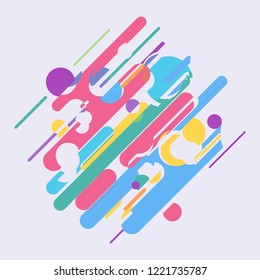 Abstract composition made of various rounded shapes. Material color. Vector illustration.