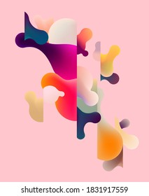 Abstract composition of multicolored liquid bubbles. Vector illustration
