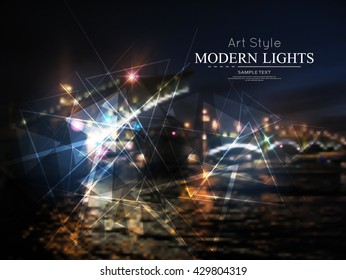 Abstract composition. Night light fashion backdrop design. River quay figure icon. Show entertainment announce texture. Creative banner. Glory flyer fiber. Shimmer reflection. Shiny water. Vector art