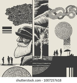 Abstract composition on the theme of vacation and travel with man in bowler hat, palms trees, beach, silhouettes of people having a rest and grunge halftone drawing textures.  vector illustration