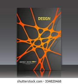 Abstract composition, orange line and dot cross interlacement, rays plexus, a4 business brochure title sheet, tangled backdrop surface, creative web icon, figure intersection points form, EPS10 vector