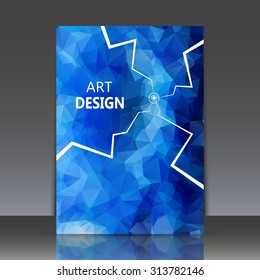 Abstract composition, polygonal construction, connecting dots and lines, indigo brochure title sheet, alien space background, laser light rays, neon star movement, EPS 10 vector illustration