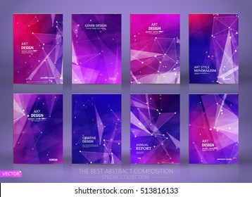 Abstract composition. Purple a4 brochure cover design. Patch info banner frame. Text font. Title sheet model set. Modern vector front page. Polygonal texture. Colored figure image icon. Ad flyer fiber