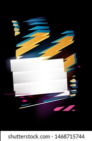 Abstract composition of rectangle and stripes. Vector shapes with refraction effect. Place for text or image