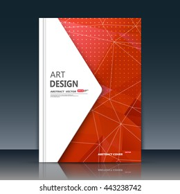 Abstract composition. Red font texture. Perforated dots construction. White lines plexus. A4 brochure title sheet. Creative figure icon. Commercial logo surface. Pointed banner form. Ad flier fiber