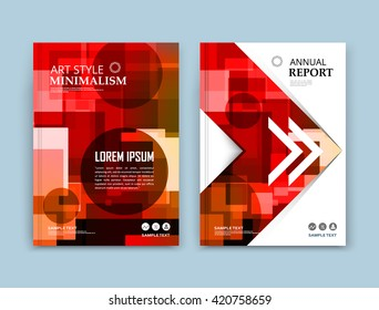 Abstract composition. Red polygonal texture. Square blocks construction. White brochure title sheet. Creative transparent arrow figure icon. Box blocks surface. Round parts banner form. Flyer font