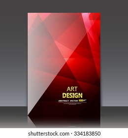 Abstract composition, red polygonal triangle construction, rubine glass texture, diamond facets surface, a4 brochure title sheet, crystal shine backdrop, business card, fashionable fiber, EPS10 vector