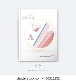 Abstract composition, rosy pastel font texture, stripe section surface, lines construction, white a4 brochure title sheet, creative figure vector art, commercial offer, banner form, flyer fiber