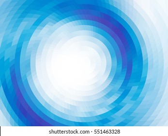 Abstract composition - round on the water. Vector with mosaic tiles, visual illusion of gradient effect, but vector without gradient