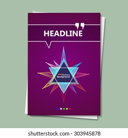 Abstract composition, shining star, background, triangle, violet brochure, EPS 10 vector illustration