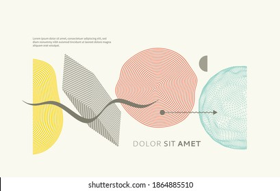 Abstract composition with simple geometric figures. Modern art graphics. Cover design template. Vector for cover, brochure or flyer.