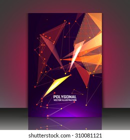 Abstract composition, star sequence, shiny polygonal space background, asterism flash icon, laser rays, brochure title sheet, astro techno flyer, dots, lines, triangles, EPS 10 vector illustration