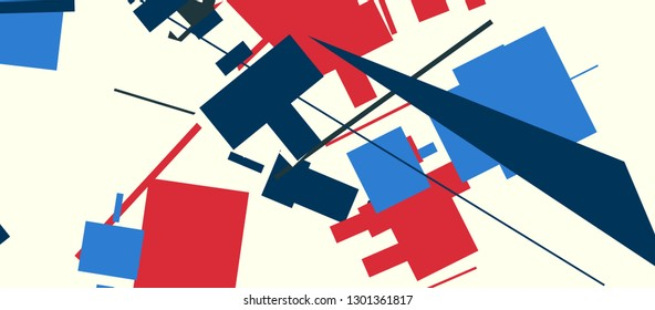 An abstract composition in a style of supermatism. Creative geometric background. Colorful retro wallpaper. The image format is suitable for printing on a mug.
