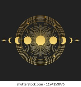 Abstract composition with sun, moon, orbits and stars on black background. Vector illustration