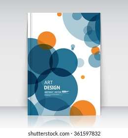 Abstract composition, text frame surface, a4 brochure title sheet, creative figure, logo sign construction, firm banner, blue round icon, orange transparent circle, flier fashion, EPS10 illustration