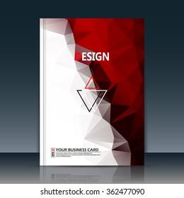 Abstract composition, text frame surface, red, white polygonal a4 brochure title sheet, creative figure logo sign, trademark flag, firm name emblem, slug banner form, flier fashion, EPS10 illustration