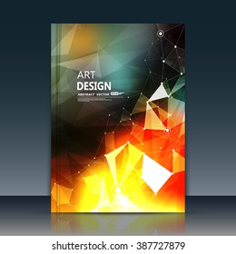 Abstract composition, text frame surface, orange a4 brochure title sheet, alien cybernetic dot, creative figure, logo sign icon, outer space fire, banner form, cosmic flier fashion, EPS10 vector image