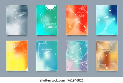 Abstract composition. Text frame surface. Green, yellow, blue, orange a4 brochure cover design. Title sheet model set. Polygonal space icon. Vector front page font. Ad banner form texture. Flier fiber