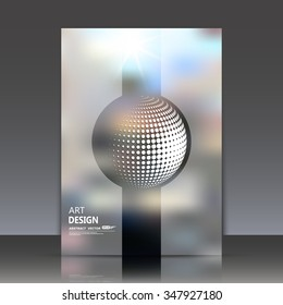 Abstract composition, transperent stripe surface, 3d sphere icon, round figure font, circle construction, a4 brochure title sheet, fashionable fibre texture, business card backdrop, EPS10 illustration
