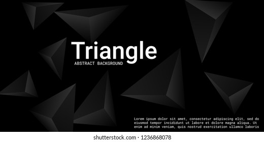 Abstract composition of  triangle. Futuristic geometric background.  3D vector illustration . Black  three-dimensional  geometric triangle in space.
