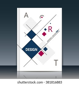 Abstract composition. White a4 brochure title sheet. Ad figure design. Annual report cover. Creative text frame surface. Firm banner form. Square block connection. Quadrate icon. Flyer fiber art.