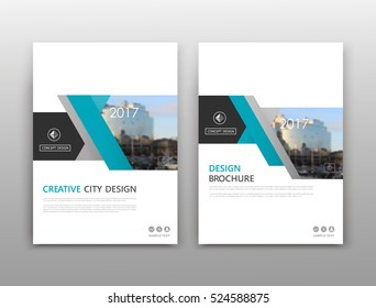 Abstract composition. White a4 brochure cover design. Info banner frame. Text font. Title sheet model set. Modern vector front page. City view texture. Green figures image icon. Elegant ad flyer fiber