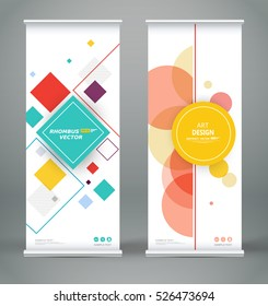 Abstract composition. White roll up brochure cover design. Info banner frame. Text font. Title sheet model set. Modern vector front page art. Lozenge part brand flag. Round figure icon. Ad flyer fiber