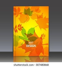 Abstract composition yellow brochure title sheet, natural background, autumn leaves, biological print, botanic ornament, eco design, leaf fall, EPS 10 vector illustration