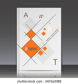 Abstract composition,rhombus texture, orange square blocks connecting, quadrate box construction, a4 brochure title sheet, gray backdrop, business card surface, modern light fiber, EPS10 illustration