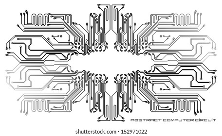 Abstract computer circuit on a white background
