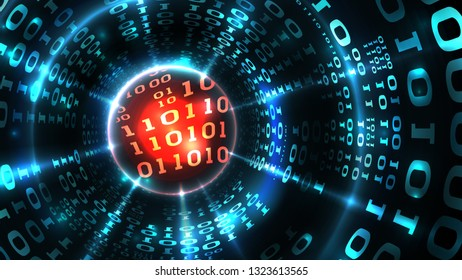 Abstract computer data background programming binary code, data stream, abstract firewall. Hacking computer system, database, internet server with virus, malicious code. Vector illustration