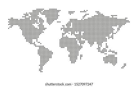 Abstract computer graphic pixel dotted world map. Vector illustration.