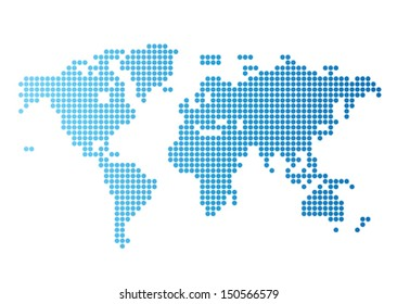 Abstract computer graphic World map of blue round dots. Vector illustration.