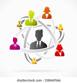 Abstract concept about business network team vector illustration