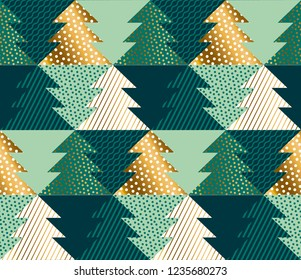 Abstract concept Christmas tree geometric seamless pattern. Gold and green xmas luxury repeatable motif for wrapping paper, background, winter design projects.