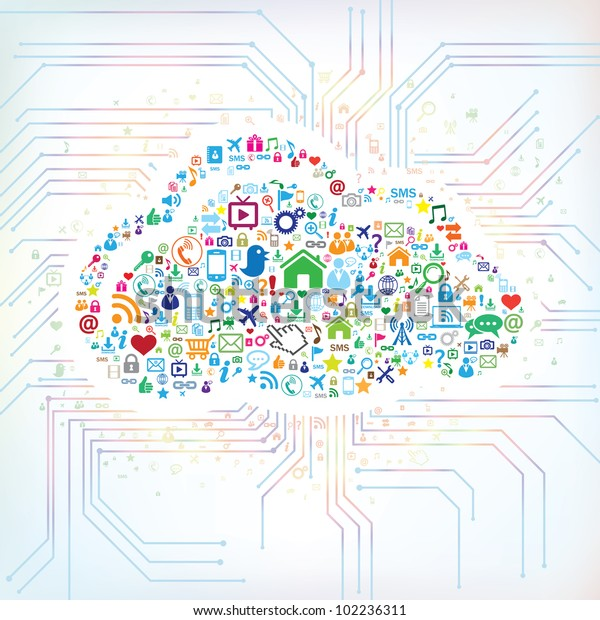Abstract concept of cloud computing