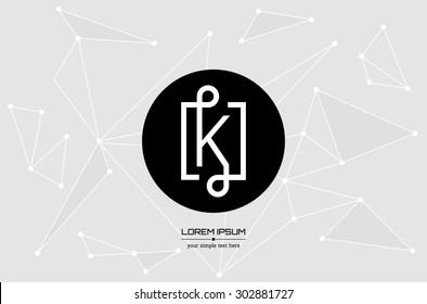 Abstract concept creative vector letter K. Colorful app logo icon element isolated on background. Art illustration creative template design for business software sign and social media lined symbol.