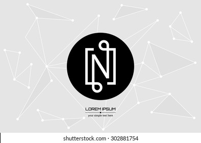 Abstract concept creative vector letter N. Colorful app logo icon element isolated on background. Art illustration creative template design for business software sign and social media lined symbol.