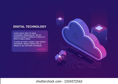 Abstract concept of digital cloud computing, cloud data storage, server room, database and data warehouse, website landing page vector ultraviolet